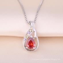 Venda quente 925 Sterling Silver Pendant Ruby Stone Colar Minúsculo Design