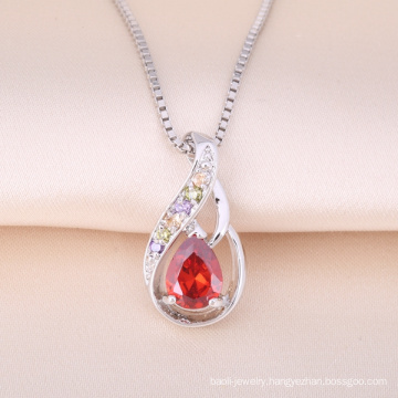 Hot Sale 925 Sterling Silver Pendant Ruby Stone Necklace Tiny Design