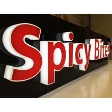 Letrero de letras 3D iluminado para el nombre de la tienda de comida rápida