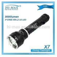 Professional Plongée Lampe de poche 3000 lumens Super lumineux camping lampe de poche Éclairage sous forme de grappe sous-marine Lampe de poche