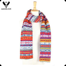 Winter Acrylic Jacquard Patterns Multicolor Scarf