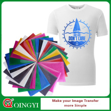 Qingyi vente chaude glitter vinyle feuilles de transfert de chaleur pour le vêtement