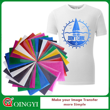 Qingyi hot sale glitter vinyl heat transfer sheets for garment