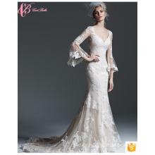Sexy V-Ausschnitt Brautkleider China Langarm Lang Kleider Für Hochzeit Party