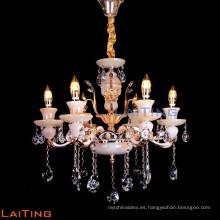 lámpara colgante de cristal de vela clásica y tradicional y luz colgante con tonos cálidos con E14 / E12 LT-88670