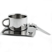 Stainless Steel Espresso Cup and Saucer Mug Set