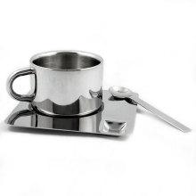 Xícara de café expresso de aço inox e conjunto de caneca Pires