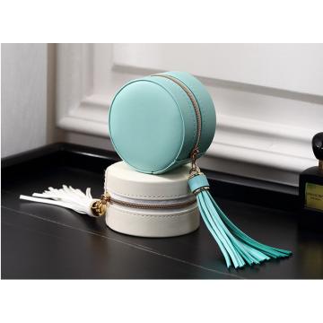 Caixa de armazenamento de brinco para joias redondas e azuis personalizadas