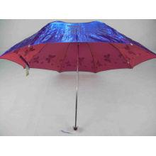 Fashion fleurs brillant revêtement 3 pliage parapluie
