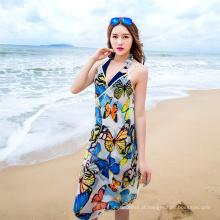 Férias vestido bali sarong borboleta praia encobrir lenço chiffon flor praia pareo