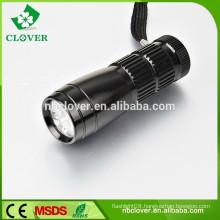 Long lifetime 12000-15000MCD 9 led aluminum led flashlight torch