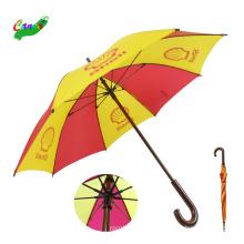 Branded logo prints promotional umbrellas, 46inch multicolor wooden straight rain umbrella