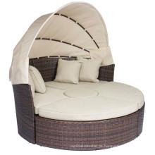 Rattan Outdoor Liegestühle mit Baldachin Sand Kissen