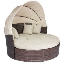 Rattan Outdoor Daybeds avec Canopy Sand Cushions