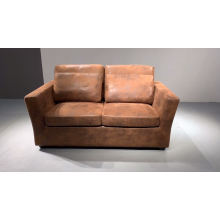 European Retro Living Room Furniture Vintage Brown Leather Fabric PU Sofa with Cushions