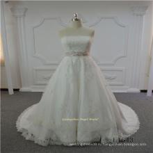 Последние без бретелек кружева 2017 свадебное платье с поясом
