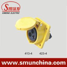 Angle Panel Socket 16/32A 110V IP67 3pin Yellow