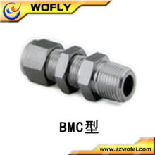 Raccord de tube en acier inoxydable 316ss3 / 8t Connecteur femelle Bulkhead