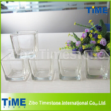 Wholesale Square Clear Glass Candle Holder