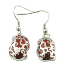Stainless Steel Earring Red Enamel Jewelry