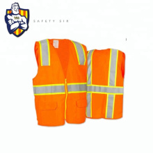 Chaleco Reflectante Mesh Fabric To Security Industrial Vest In Orange With Pockets