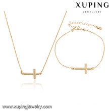 64000-Xuping Свадебные комплекты ювелирных изделий крест подвески Браслет ожерелье Комплект для женщин девушки дар