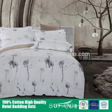 Cama do hotel / Atacado conjunto de cama de algodão 200TC, azul folha de cama capa de edredão fronha