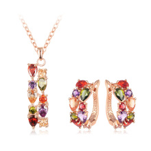 Multicolor Waterdrop Zirkon Halskette Ohrringe Sets für Frauen (CST0031-A)