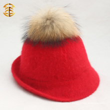 New Fashion Wholesale Ladies Red Straw Fedora Hat With Real Fur Pom Pom