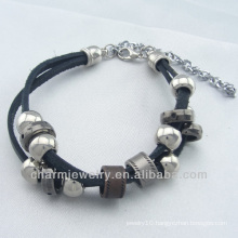2014 new fashion custom leather bracelet with charms BGL-049