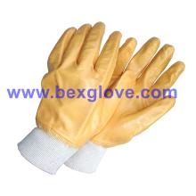 Doublure en coton, revêtement en nitrile, gants entièrement en sécurité