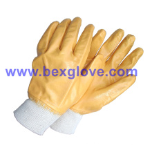 Forro Interlock de algodão, revestimento de nitrilo, luvas de segurança total