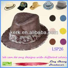 2013 Best Price Ткань Пояс 100% природа бумаги соломенной шляпе / партия шляпу, LSP26