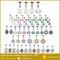 Diseño único 316L Non Piercing anillo del ombligo CZ y Opal Flower Free Solid plateado anillos del botón del vientre