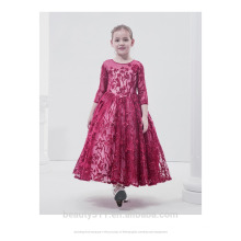 New Style Children Frocks Lace Tulle Long A Line Kids Party Dress long sleeve Flower Girl Dress Patterns ED645