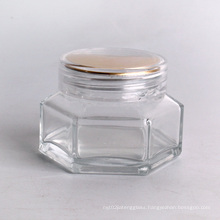hot sell 50ml hexagonal cosmetic jar for face cream with wooden bamboo lid
