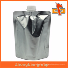 Top quality china factory 300ml foil silver spout pouch bag for liquid