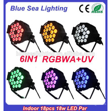 O preço de fábrica para a luz de par conduzida uv elevada do rgbaw do estágio do interior do output18x18w do lúmen