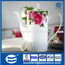 Set de té de porcelana fina para decorar rosas para 6 personas