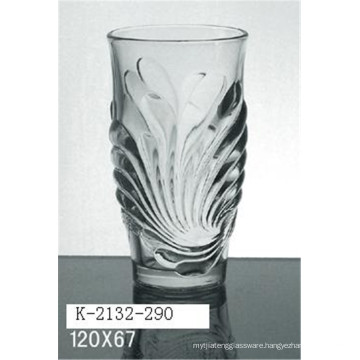 Machine press 290ml glass drinking cup with lozenge effect for water