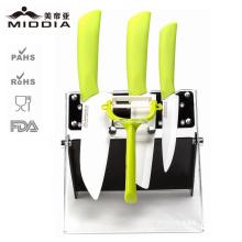 Cuchillos de cerámica amistosa de Eco Set Utensilios de cocina con pelador de patata y titular
