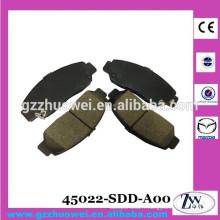 Garnitures de frein en céramique fabriquées au Japon au Japon et au Japon Plaquettes de frein avant 45022-SDD-A00