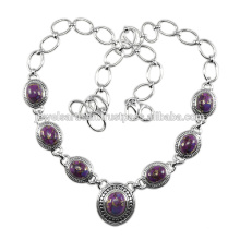 Purple Copper Turquoise 925 Solid Silver Necklace Jewelry