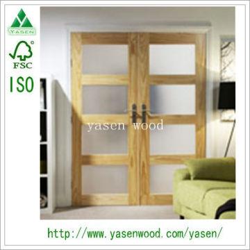 Shaker Style 4 Lite Clear Pine Front Wooden Door
