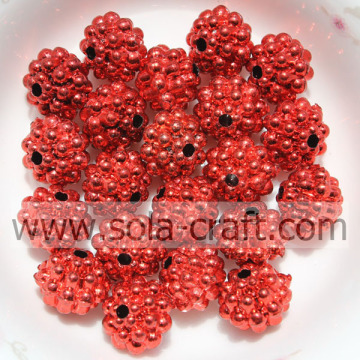 Online Hot Sale Red Color Acrylic Metallic Beads For Necklace