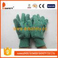 Guantes de seguridad de muñeca hechos de guantes de color verde dorado (DCD104)