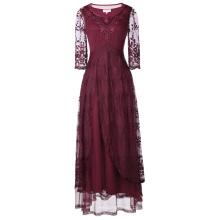 Belle Poque Vintage retro 3/4 mangas de cuello de tobillo de encaje de longitud vestido de noche BP000318-1