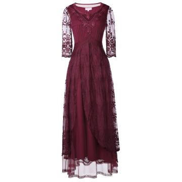 Belle Poque Retro Vintage 3/4 Ärmel Rundhals Knöchel Länge Lace Abendkleid BP000318-1