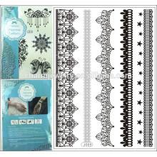 Neue 2015 hohe Qualität große reizvolle schwarze Spitze-Tätowierungentwürfe Großhandelspreis j005