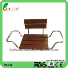 Badewanne Duschstuhl mit Holzsitz und Rückenlehne